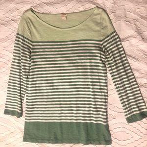 J Crew Striped 3/4 Sleeve Shirt